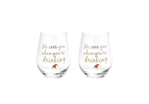 Wine Glass He Sees You Gold Set Of Two