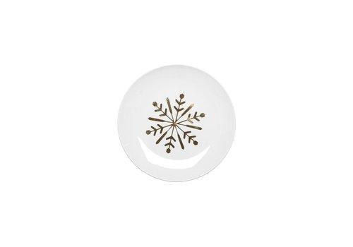 Snowflake Ceramic Plate Gold Set of 4