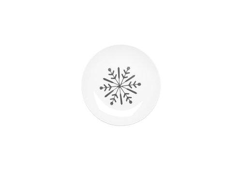 Snowflake Ceramic Plate Silver Set of 4