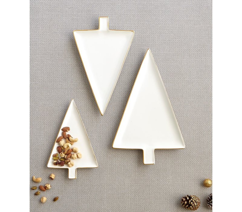 Tree Ceramic Serving Dishes White Gold Set of 3