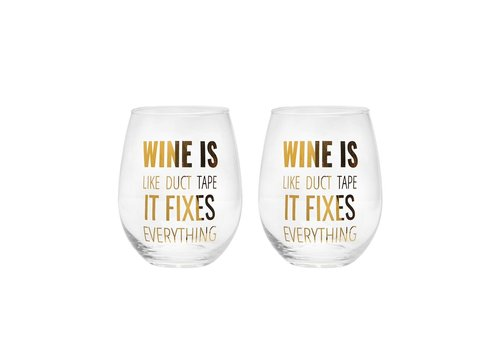 Wine Glass Is Like Duct Tape Gold Set Of  Two