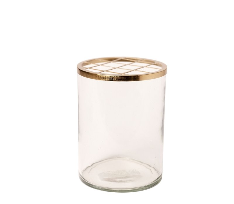 Glass and Brass Flower Cylinder Large