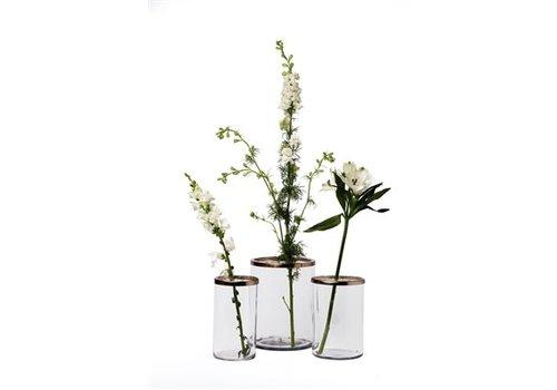 Glass and Brass Flower Cylinder Medium