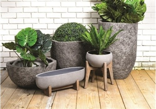 Ficonstone Oval Planters Grey Medium