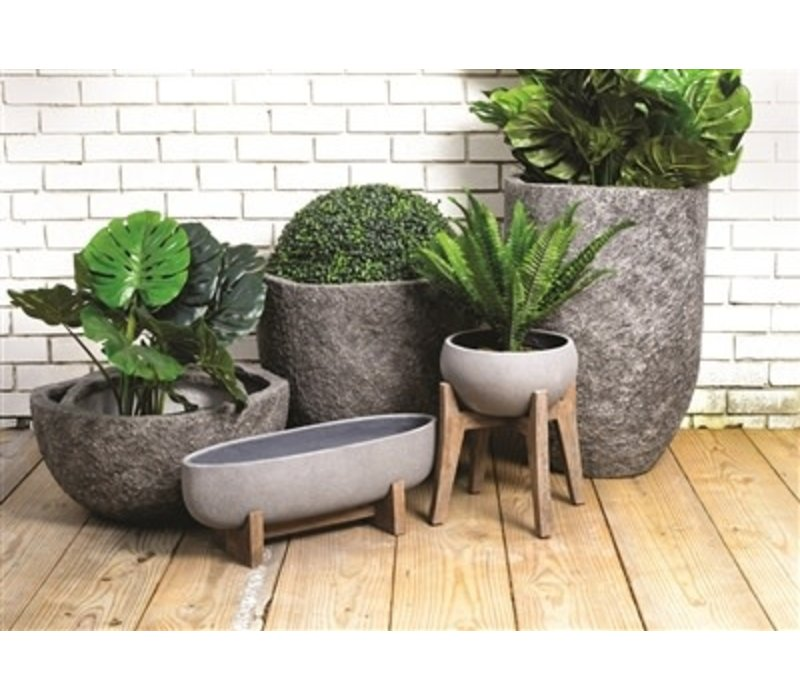 Ficonstone Oval Planters Grey Small
