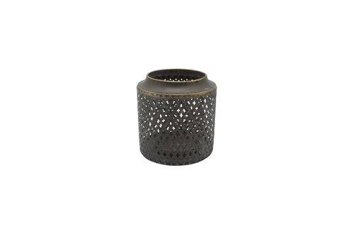 Perforated Drum Lantern Antique Gold Large