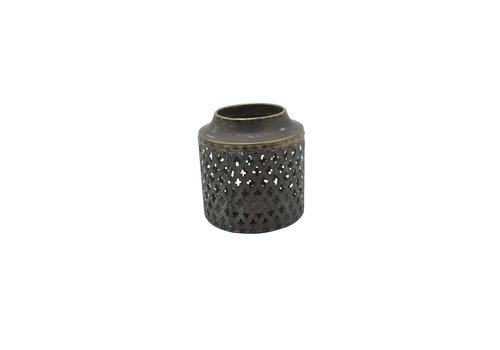 Perforated Drum Lantern Antique Gold Small