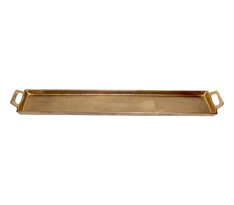 """Aluminum Tray With Handles Antique Brass 5x30"""""""