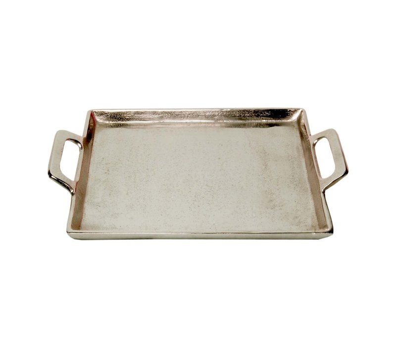 Aluminum Tray With Handles Raw Nickel 10x14""