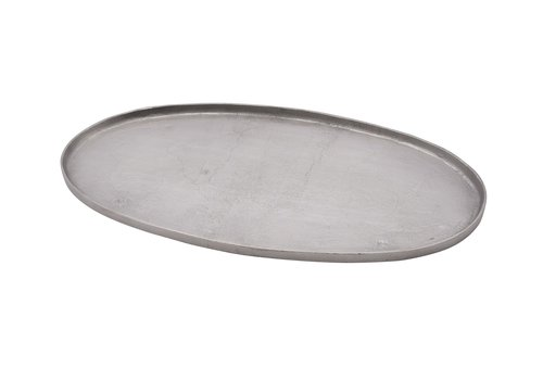 Cast Aluminum Oval Tray Raw Nickel 29.5""