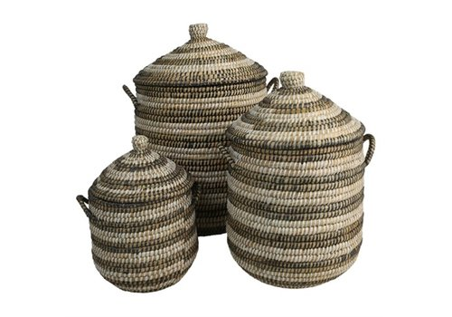 Straw & Recycled Rajbari Basket small