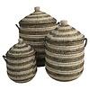 Straw & Recycled Rajbari Basket Large