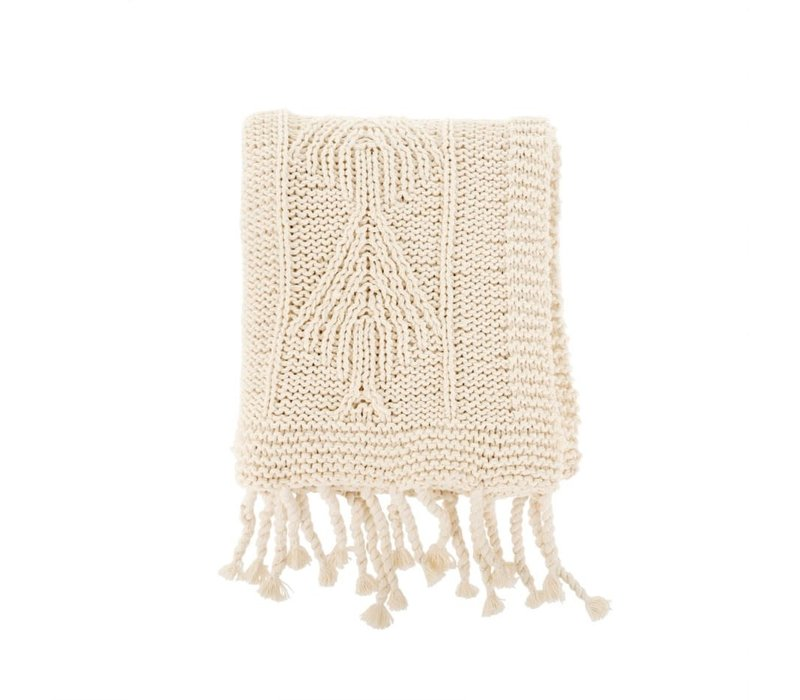 Cotton Knit Throw Natural