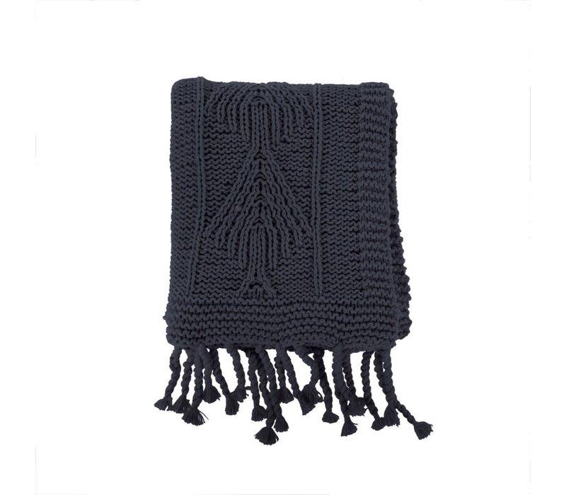 Cotton Knit Throw Dark Grey