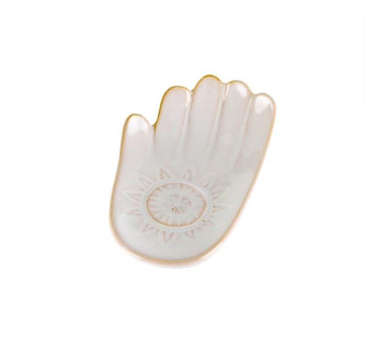 Hamsa Hand Dish White