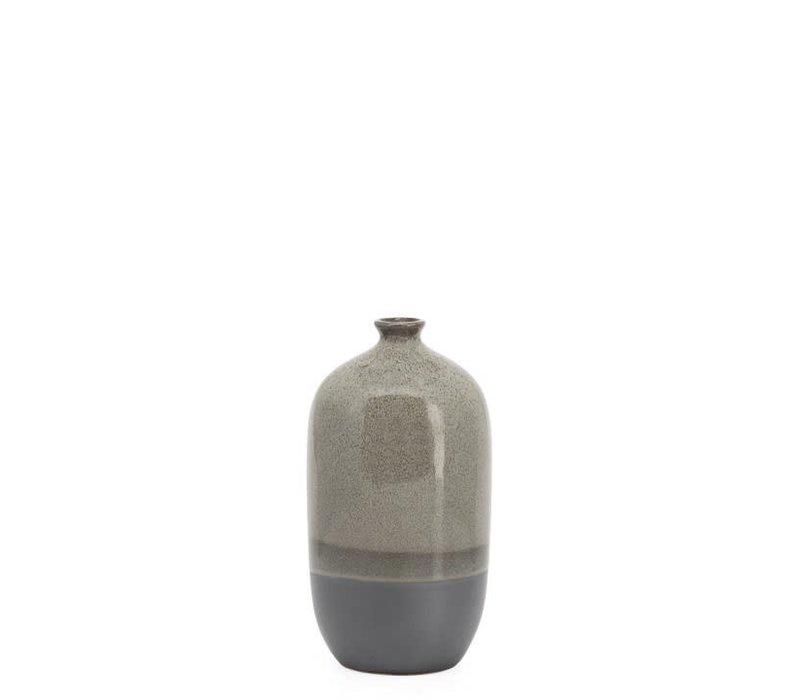 "Tolo 2 Tone Reactive Glaze Bottle Vase Grey 8.5""H"