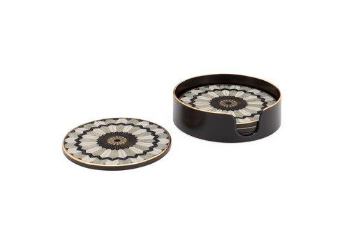 Savoy Gold Trim 4 Piece Round Coaster Set Mosaic