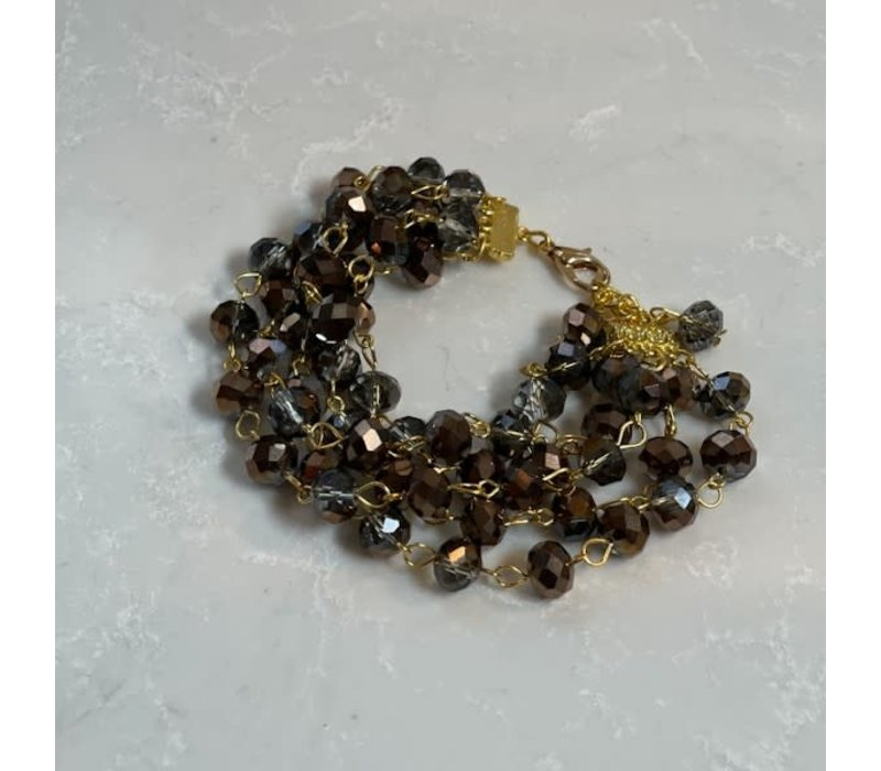 Five Strand Crystal Bracelet, Bronze