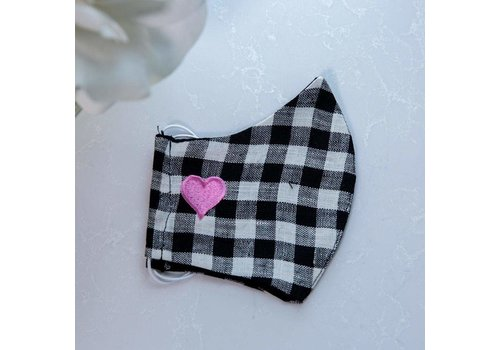 Heart Linen Face Mask Black Checkered Pink