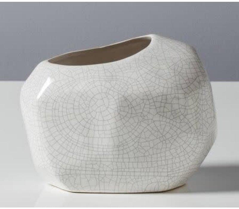 """Basalt Crackle Glaze Rock Vase 6.25""""h"""