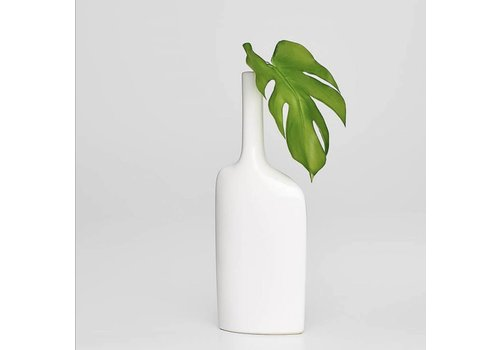 Alba Long Neck Short Vase - White