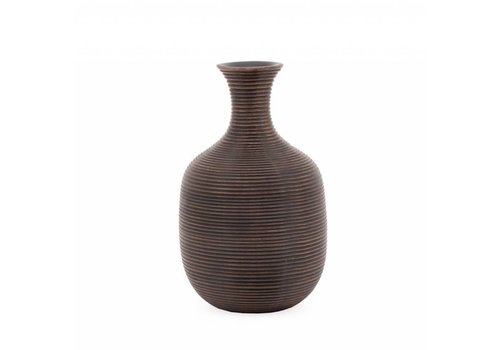 "Colombo Ribbed Resin Tall - 9.5"" Vase Brown"