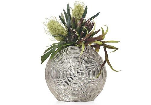 """Embossed Spirals Aluminum 11""""h Disc Vase"""