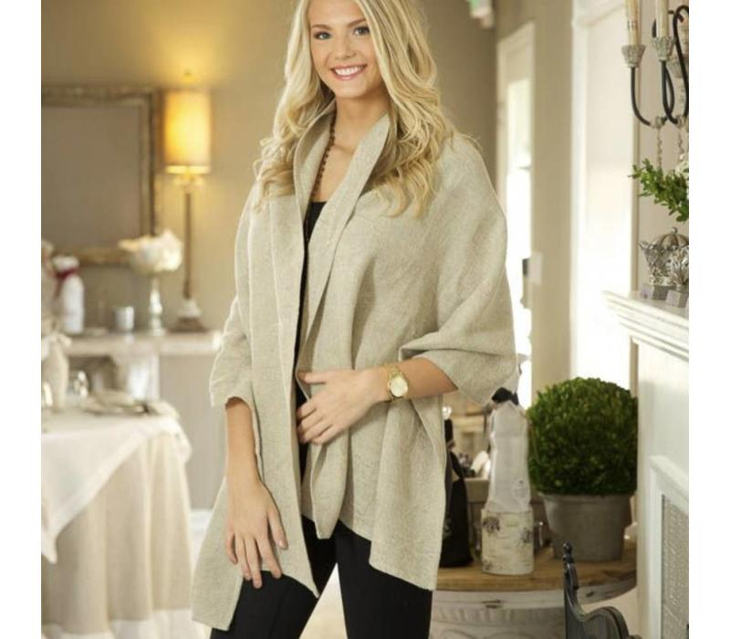 Russo Linen Wrap (Natural) - No Fringe Wrap
