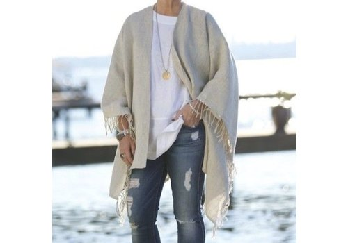 Large Russo Linen Wrap (Natural) - Rectangle Wrap with Fringe