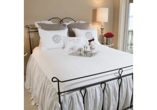 Linen Bedspread with Ruffle King