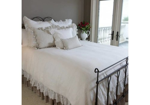 Washed Linen Solid Duvet with Ruffle