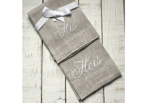 His & Hers Linen Towel Set