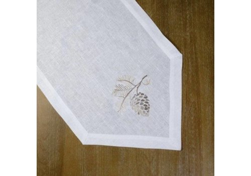 Pinecone Linen Table Runner