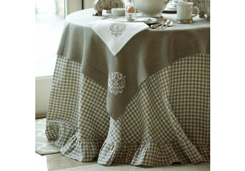 "Checkered Linen 90"" Tablecloth"