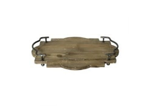 Pisco Wood Tray with Metal Handles - Small