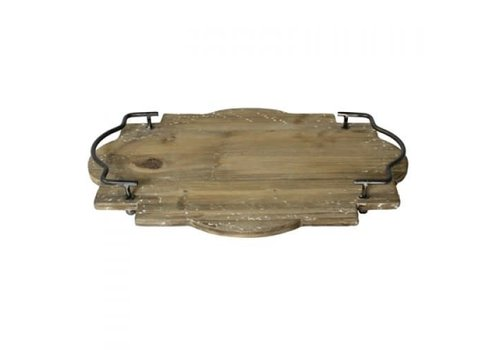 Pisco Wood Tray with Metal Handles - Large