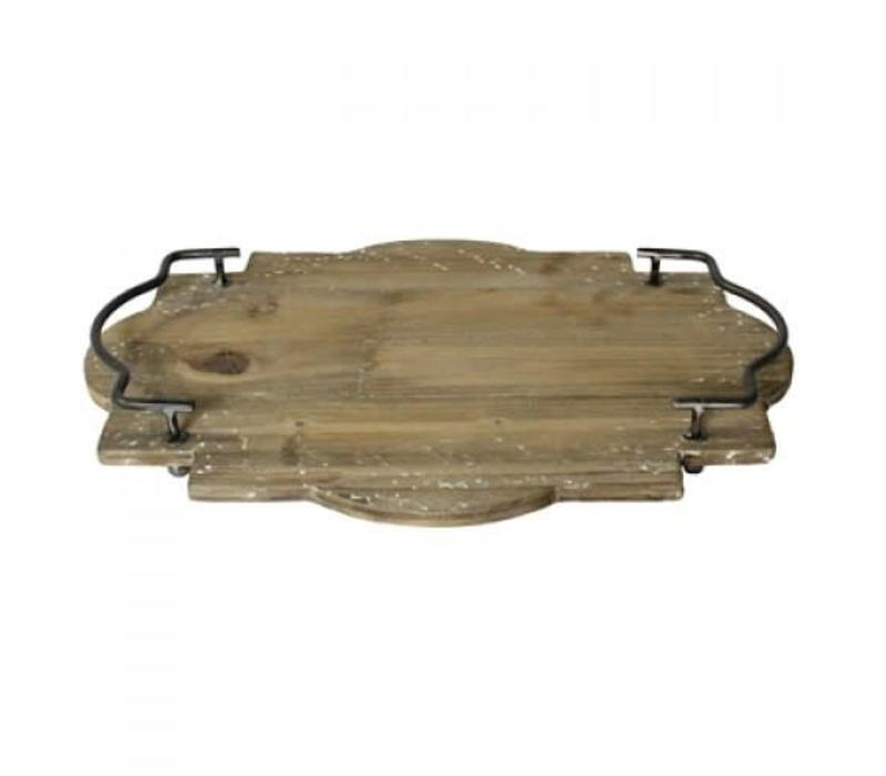 Pisco Wood Tray with Metal Handles Large