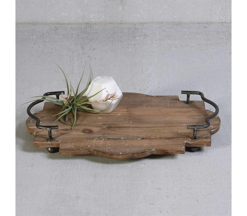 Pisco Wood Tray with Metal Handles Small