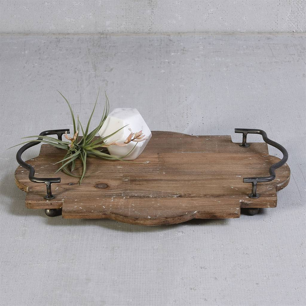 Pisco Wood Tray With Metal Handles Small Red Door Home