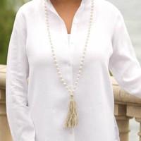 Pearl, Linen Tassel Necklace