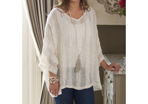 Charlotte Blouse White Stripe One Size
