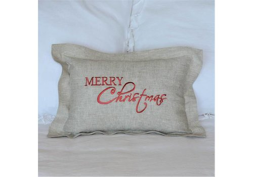Decor Pillow Merry Christmas Flax Red