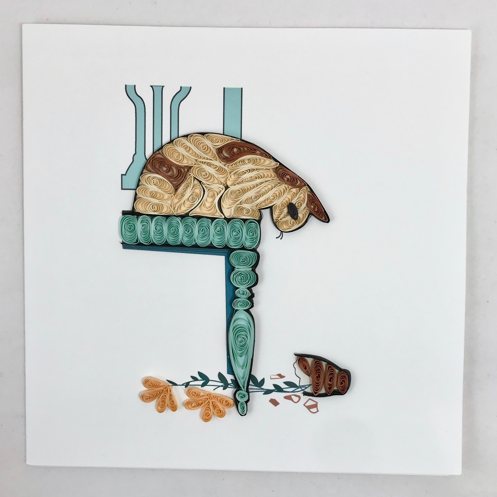 Quilling Card Tan Cat & Broken Vase || Quilling Card