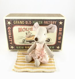 Maileg Little Sister Mouse in a Box, Orange Stripe