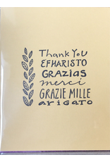 Karen Fuhr Thank you (6 languages) card, by Art Rocks Press