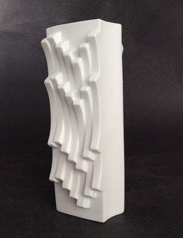 Vintage Hutschenreuther Vase - Matte White Geometric - Heinrich Fuchsc1960 - H20.5cm - West Germany