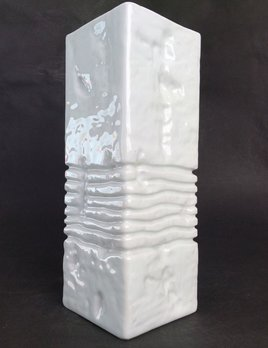 Vintage Gerold Porcelain Vase - Gloss White Geometric - H27cm - c1960 - West Germany