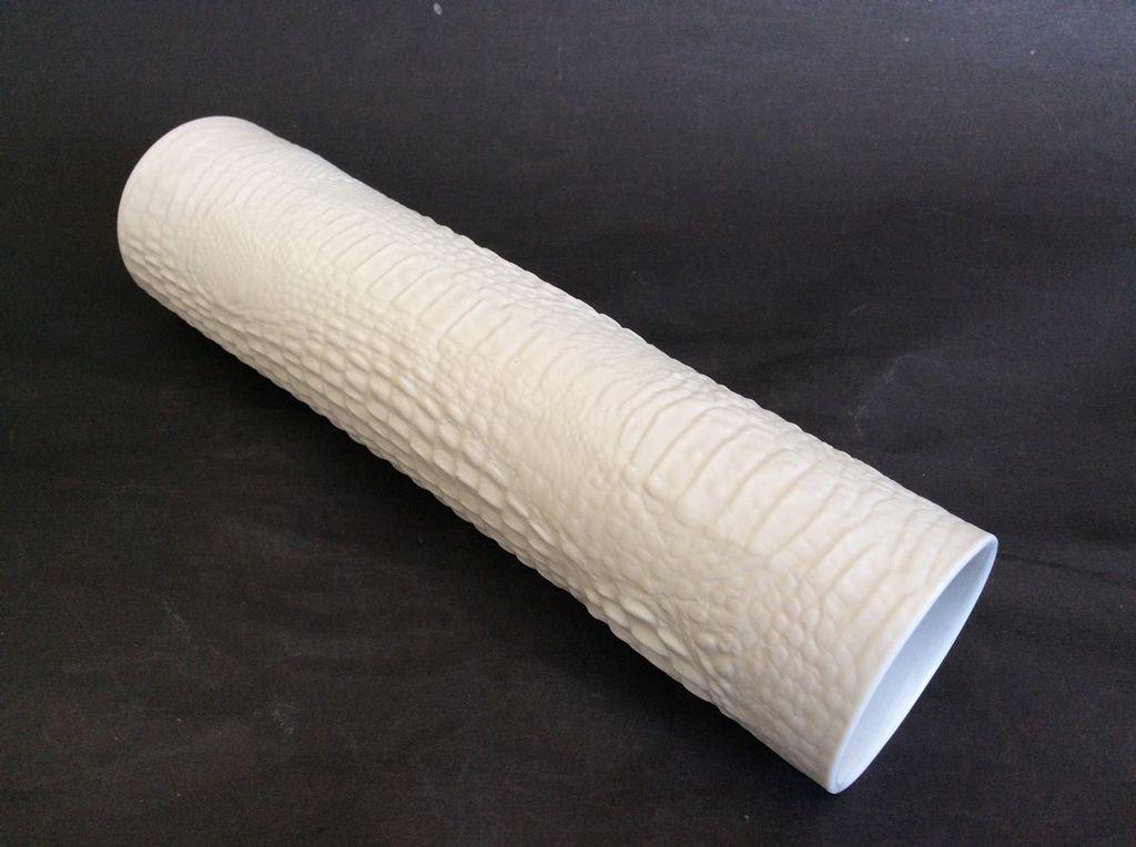 Vintage Snake / Reptile Skin Vase - Matte White - Kaiser c1970 - H30.5cm - West Germany
