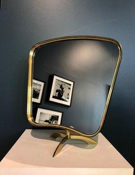 BECKER MINTY Vintage 1950's Brass Mirror - Swivel - Vereinigte Werkstätten München - German - H46xW41cm