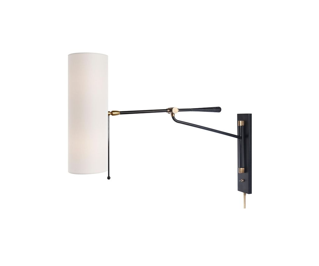 Aerin AERIN - Frankfort Articulating Wall Light in Black and Hand-Rubbed Antique Brass Accents with Linen Shade - Height: 57.2cm Width: 14cm Extension: 75.6cm